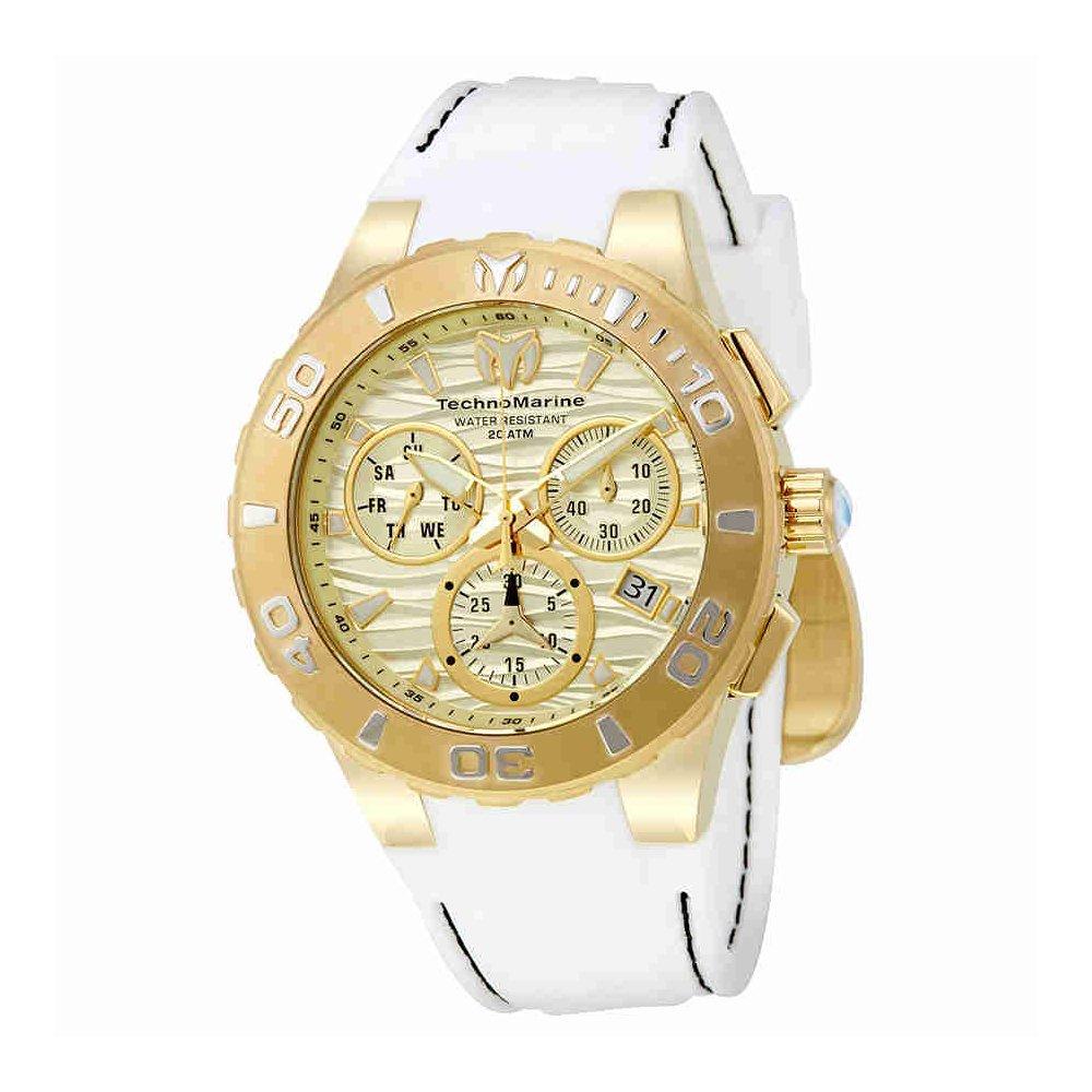 Technomarine Men s Cruise Medusa Stainless Steel Swiss-Quartz Watch with Silicone Strap, White, 26 Model TM-115078
