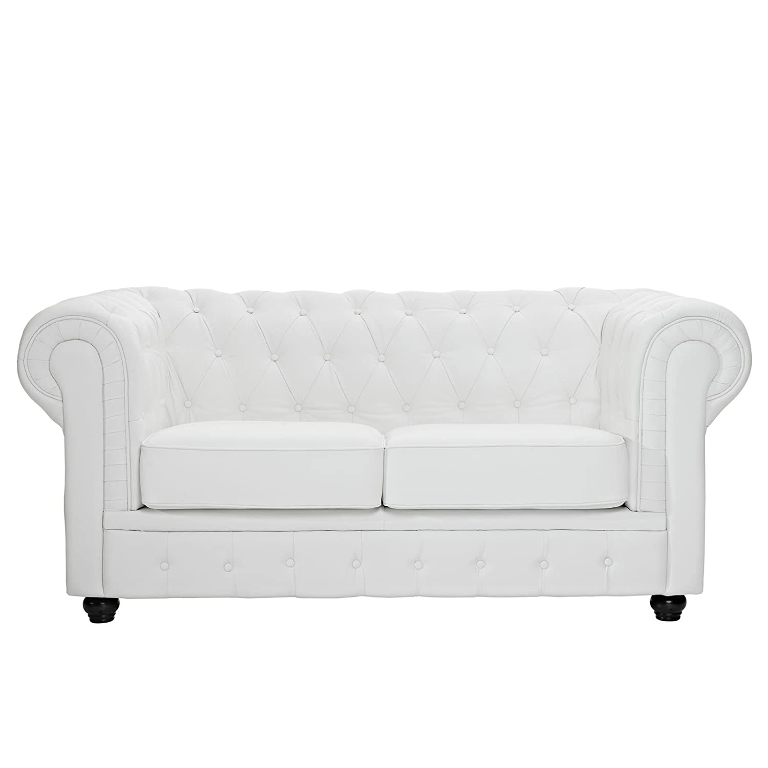 Amazon Modway Chesterfield Loveseat in White Leather and