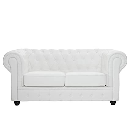 Modway Chesterfield Button Tufted Leather Loveseat In White