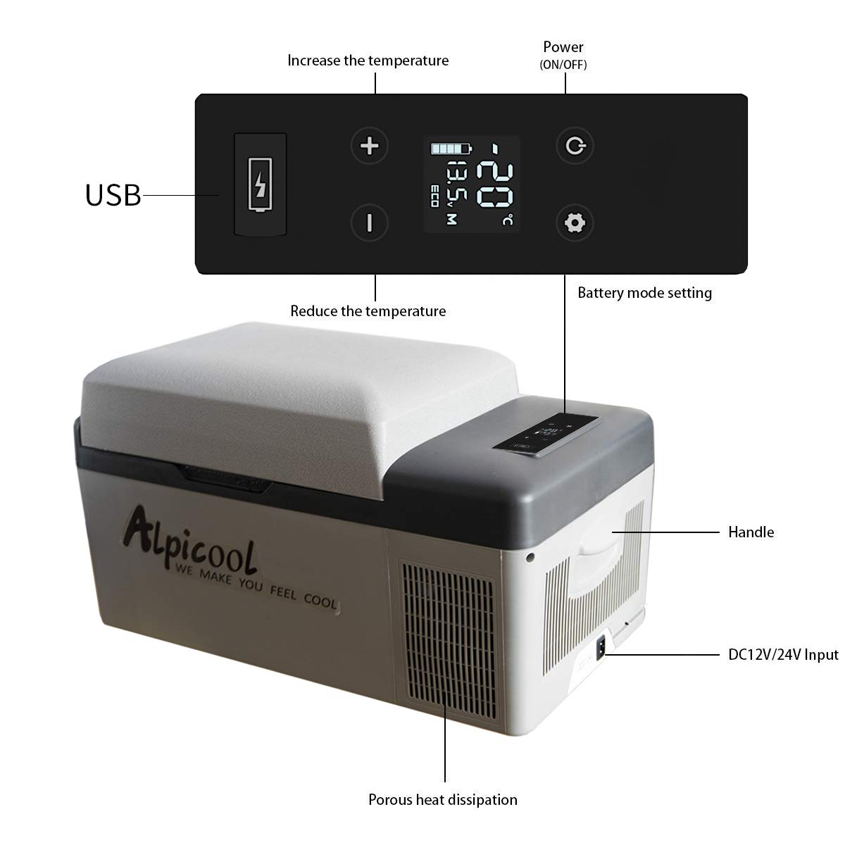 Alpicool C22 Portable Refrigerator 23 Quart Vehicle Car Mini fridge freezer for Driving Fishing Truck RV Outdoor and Home use -12//24V DC and 110-240 AC with USB socket Travel