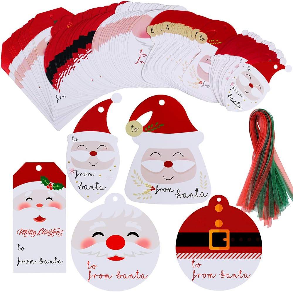 Supla 90 Sets From Santa Gift Tags Gift Label With Ribbon Christmas Present Tags Christmas Cute Santa Cut Outs Party Favors Tags Treat Tags Santa Tag Holiday Tags Hanging Sign Tags Season Tags
