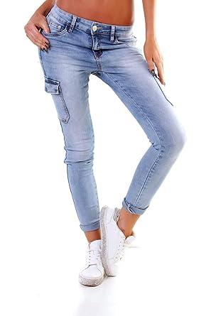 f07ed30786556f OSAB-Fashion 4575 Damen Jeans Röhrenjeans Hose Boyfriend Baggy Haremscut  Slim-Fit Cargohose