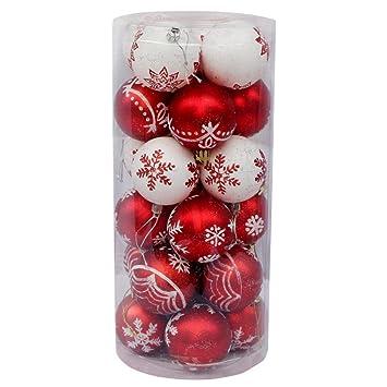 Bolas De Navidad Árbol De Navidad Decoración De Navidad Bolas De Navidad Bola Pintada En Botella,Redandwhite: Amazon.es: Hogar