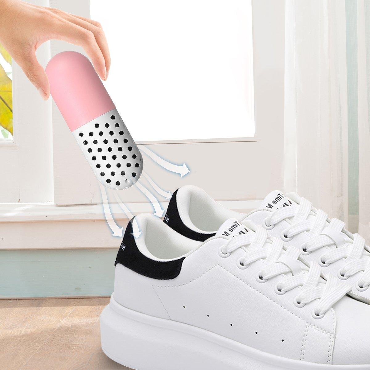 Camfosy Shoes Odor Deodorant,Odor Eliminator 2 Stück wiederverwendbare ungiftige antimikrobielle Schuhe/Kleidung Deodorant Moisture Absorber Anti-Schimmel Deodorizer mit Zeolith Partikel, blau pink