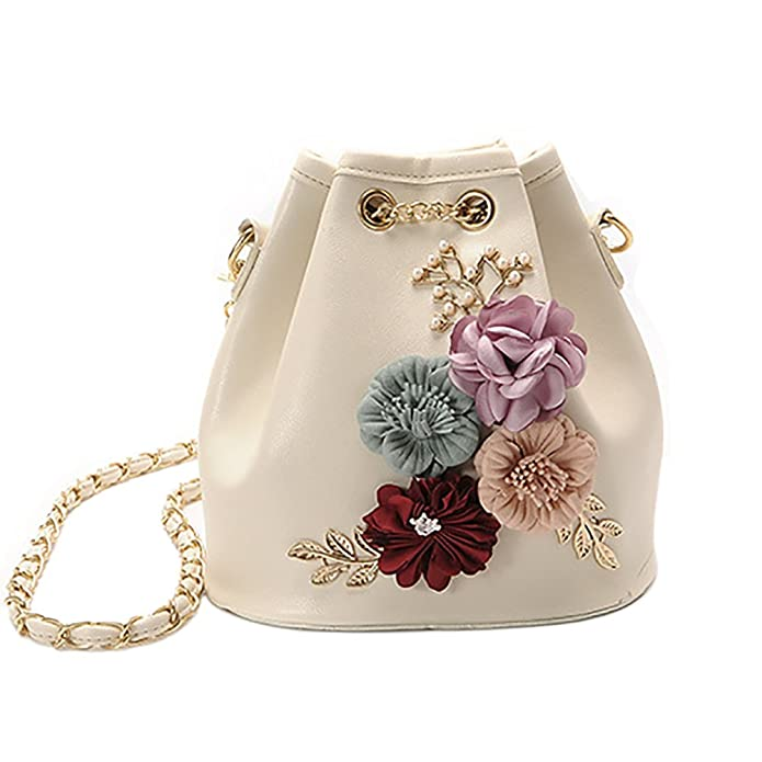 afdc5e19f Women s PU Leather Flower Drawstring Bucket Bag Crossbody Bag Shoulder Bag  Purse  Handbags  Amazon.com