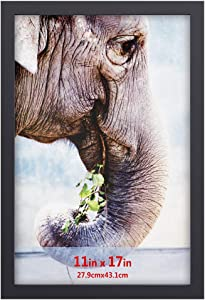 RPJC 11x17 inch Solid Wood Poster Frames for Wall Mounting Hanging Picture Frame Black