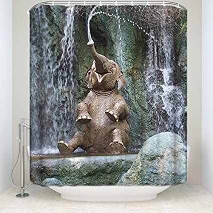 Cloud Dream Elephant Shower CurtainWild Little Playing Water Polyester Fabric Bathroom Curtain Set
