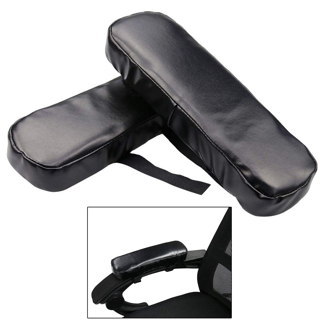 Enerhu Set of 2 Adjustable Waterproof Armrest Pad Memory Foam Armrest Replacement Pads Chair Arm Rest Pads for Office Home Chair Black