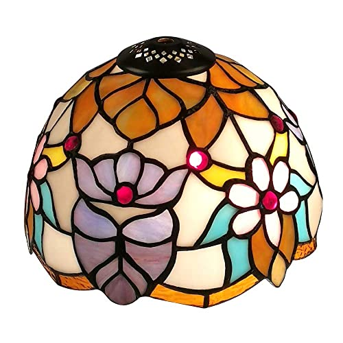 WeiJuMei Premium Tiffany Style WJM08-LS-5 Flower Lampshade Replacement for Table Lamp, 8-Inch Diamater, Multi-Colored, 1pcs
