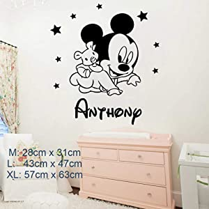 Cartoon Personalized Custom Name Mickey Mouse Wall Sticker Decals Murals Poster for Kids Babys Room Decoration Bedroom Decor (Large, Anthony)