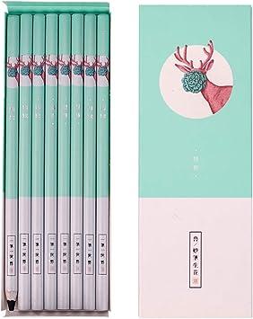 Miya Charcoal Pencil for Drawing Set Black,Soft,Neutral,Hard,Thick,Super Soft,12 Pencils Pink