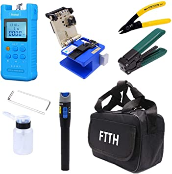 Fiber Optic FTTH Tool Kit+FC-6S Cleaver Optical Power Meter Visual Finder Tool