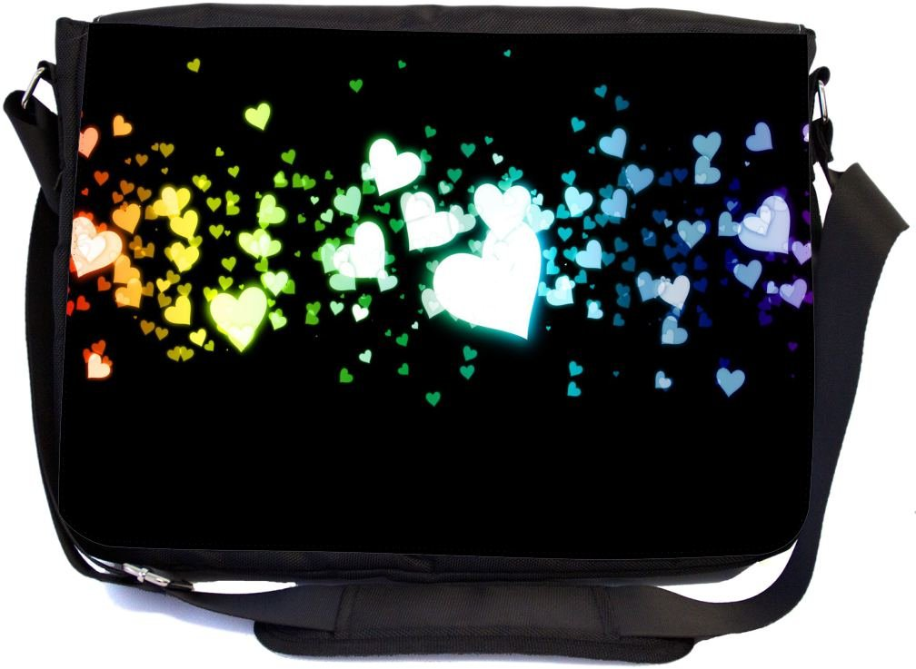 Rikki Knight Glowing Hearts Love Design Multifunctional Messenger Bag - School Bag - Laptop Bag - with Padded Insert for School or Work - Includes Matching Compact Mirror