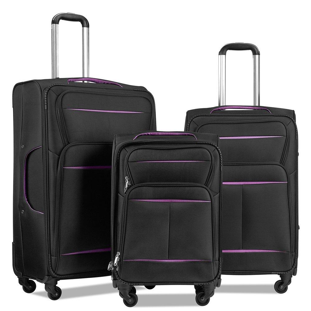 LuggageSetSuitcaseSet3PieceLuggageLightweightSoftShellwith4RollingSpinnerWheelsSuper Durable (20inch,24inch,28inch) (Black & purple)