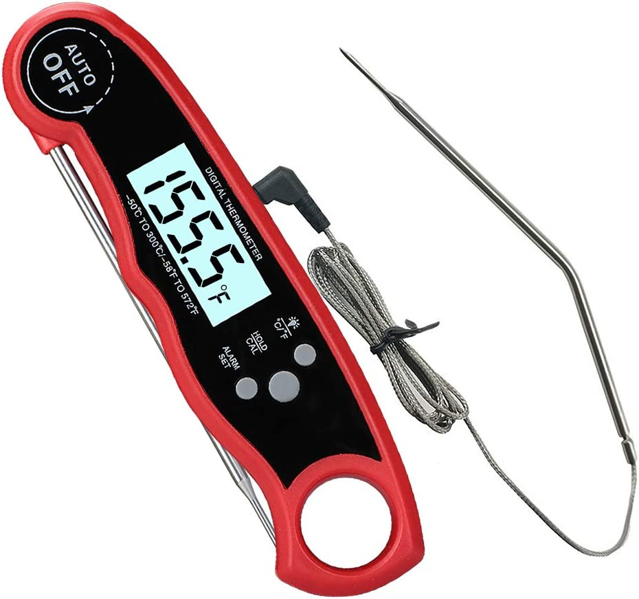 Oven Safe Leave in Meat Thermometer, Dual Probe Instant Read Food Meat Thermometer with Alarm Function for Cooking, BBQ, Smoker and Grill