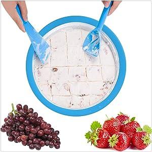 Xesvk Ice Cream Maker, Instant Ice Cream Maker Yogurt Frozen Sorbet Gelato Maker Pan Ice Roll Time Pan Ice Cream Maker Stirring for Kids