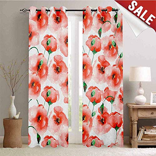Scarlet Pinstripe Short - Flower, Waterproof Window Curtain, Poppies Pattern Twigs Bouquet Ornament Soft Color Classic Design Artwork, Room Darkening Wide Curtains, W72 x L84 Inch Scarlet and Green