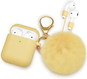 OULUOQI for Airpod Case -Slicone Cute for Airpods Case Cover with Pom Pom Keychain Compatible with Apple Airpods 2 &1 (Front LED Visible)