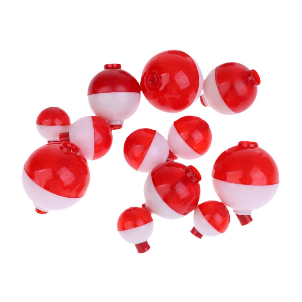 12 Pcs Snap on Float Bobbers Hard ABS Push Button Round Fishing Buoy Floats