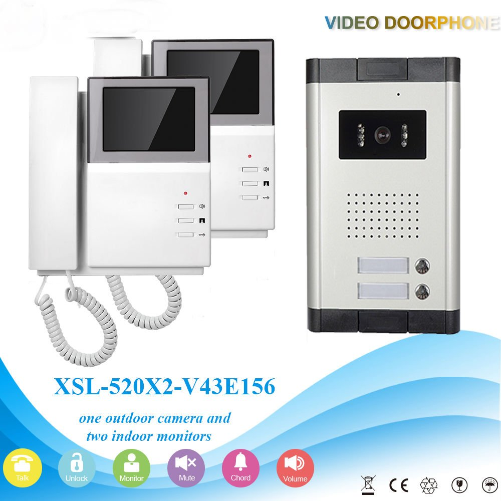 YobangSecurity Wired Video Door Phone Intercom System 4.3 inch Video Door Phone Doorbell Home Video Entry Intercom System With Telephone Style Night Vision Two Way Audio For 2 Units Apartment by YobangSecurity