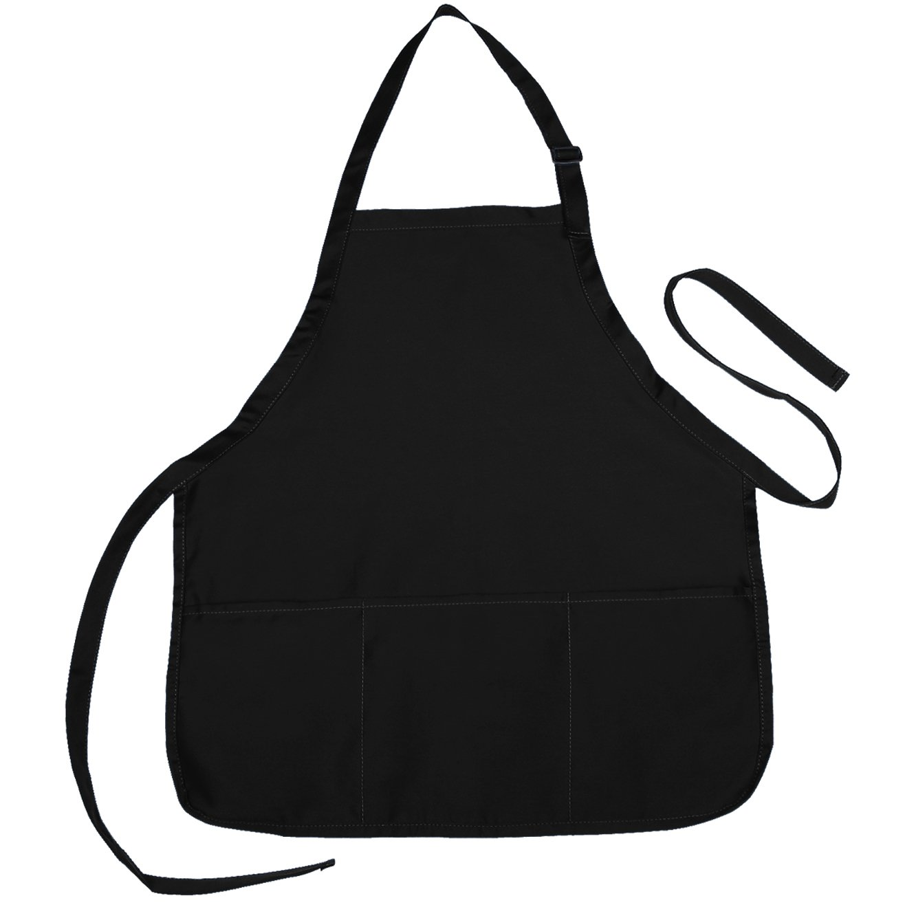 NuFazes Adjustable Bib Apron Spun Poly-Commercial, Restaurant Kitchen 3 Pocket in Black - 6 Pack