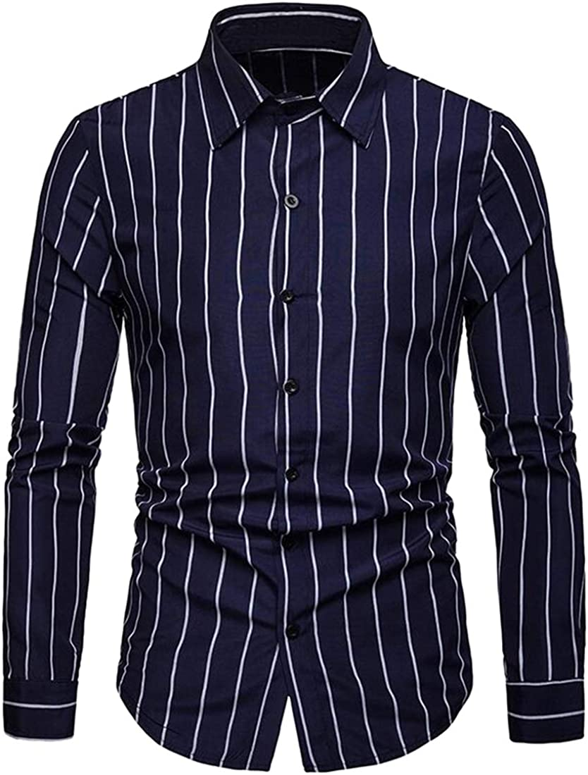 Domple Men Slim Casual Long Sleeve Lapel Formal Stripe Button Down Blouse Shirt Tops