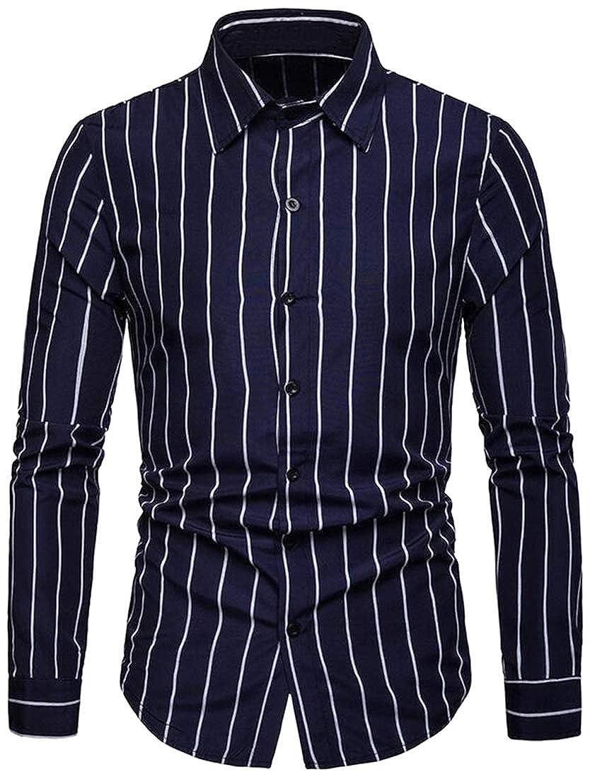 Fubotevic Men Formal Stripe Casual Long Sleeve Turn Down Collar Regular Fit Button Down Dress Work Shirt