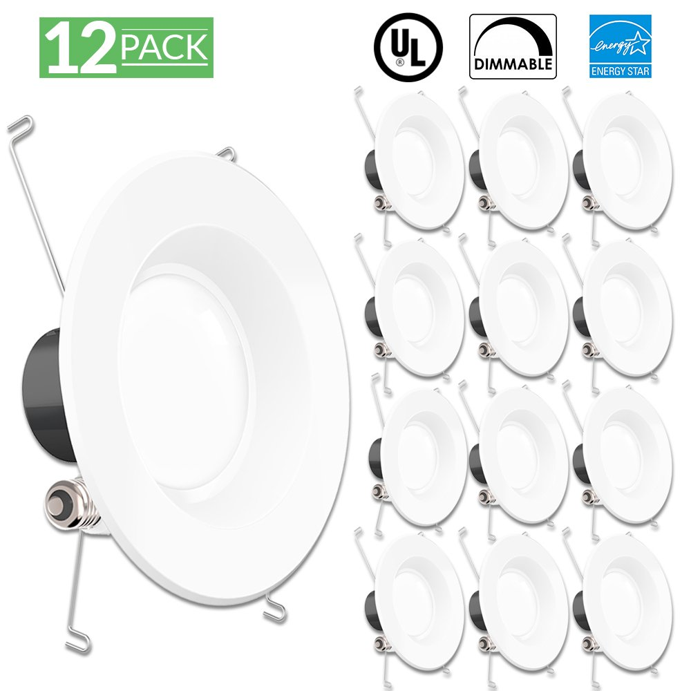 Sunco Lighting 12 Pack 5/6 Inch Smooth Recessed Retrofit Kit Dimmable LED Light, 13W (75W Replacement), 5000K Kelvin Daylight, Quick/Easy Can Install, 830 Lumen, Wet Rated
