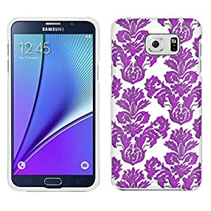 Samsung Galaxy Note 5 Case, Snap On Cover by Trek Damask Floral Purple on White Case