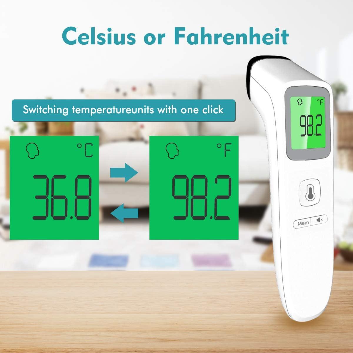 Kinder Infrarot-Thermometer f/ür Babys Erwachsene Boriwat Stirnthermometer digitales Dual-Mode Thermometer mit Fieberalarm und Speicherfunktion Fieberthermometer