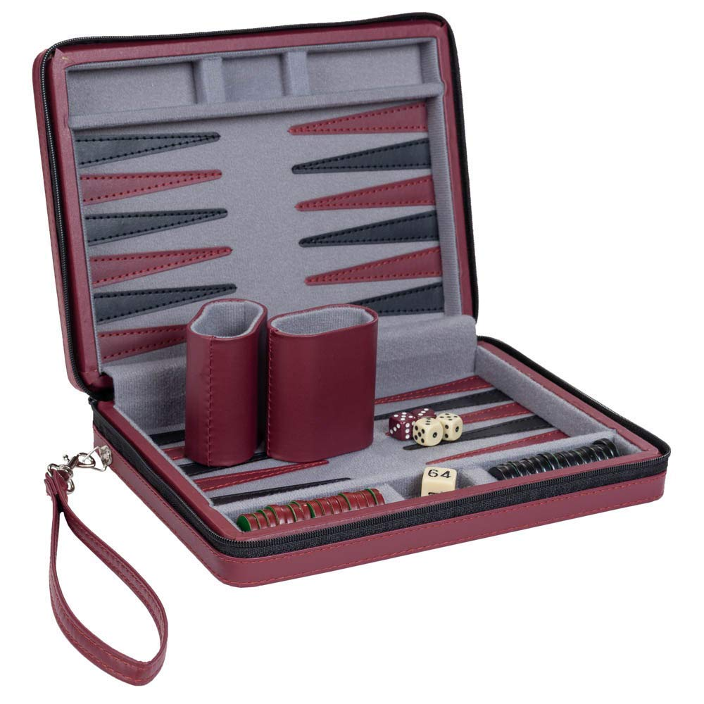 Wood Expressions WE Games Burgundy Magnetic Backgammon Set with Carrying Strap - Travel Size by WE Games (Image #4)