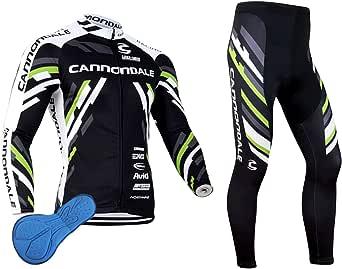 XM Conjunto de ciclismo de manga larga para hombre, con almohadillas de silicona 3D resistente al viento, secado para MTB, ciclismo, correr al aire libre
