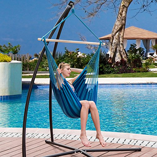 Lazy Daze Hammocks Hanging Rope Hammock Chair Swing Seat with 2 Seat Cushions, Weight Capacity 300 Lbs (Seaside Stripe) (Swing Rope Chair Hammock)
