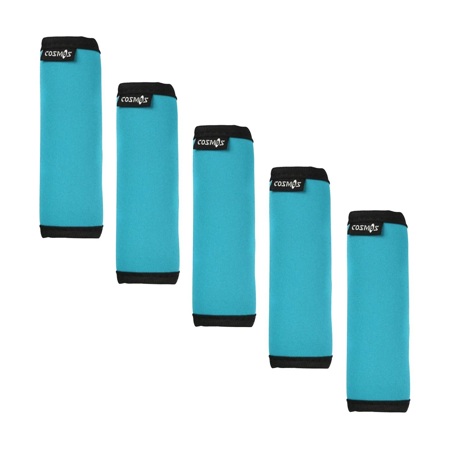 Cosmos ® 5 Pcs Aqua Blue Comfort Neoprene Handle Wraps/Grip/Identifier + Light Blue Luggage Tags + Light Blue Nylon Add a Bag Luggage Strap by Cosmos (Image #3)