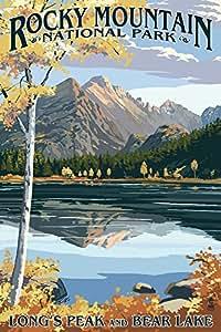 Longs Peak and Bear Lake Fall - Rocky Mountain National Park (9x12 Art Print, Wall Decor Travel Poster)