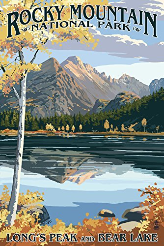 - Rocky Mountain National Park, Colorado - Longs Peak and Bear Lake Fall (12x18 Art Print, Wall Decor Travel Poster)