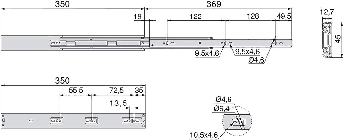 Glissi/ères T/élescopiques 800mm,2 Pi/èces,avec Amortisseur Tampon Soft Close,Charge Lourde 120kg,Coulisses /À Billes Coulisses De Tiroir /À Sortie Totale