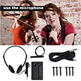 Electric Violin Silent EQ Pickup Piezo with Headphone and Plug Hole Output Cable Set Black