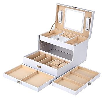 Mvpower Caja de Joyería Estuche de Relojes Caja de Gafas Estuche de Comésticos Organizador de Maquillaje (Blanco, 4 Niveles): Amazon.es: Hogar