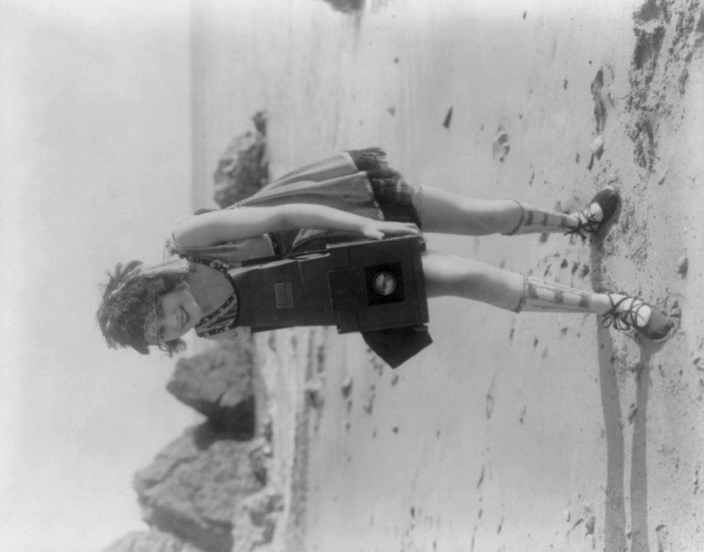 Woman on the beach withカメラ写真 24 x 36 Giclee Print LANT-3741-24x36 B017ZJ2Y9I  24 x 36 Giclee Print
