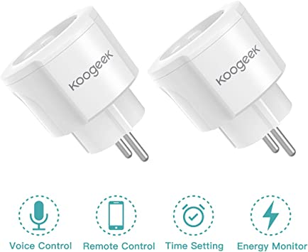 Enchufe Inteligente WiFi, Koogeek Mini Smart Plug, Control Remoto de Voz Funciona con Alexa/Google Assistant, Temporizador APP No Se Requiere Hub, IOS y Android 2.4GHz WIFI 16A (2 Packs): Amazon.es: Bricolaje y
