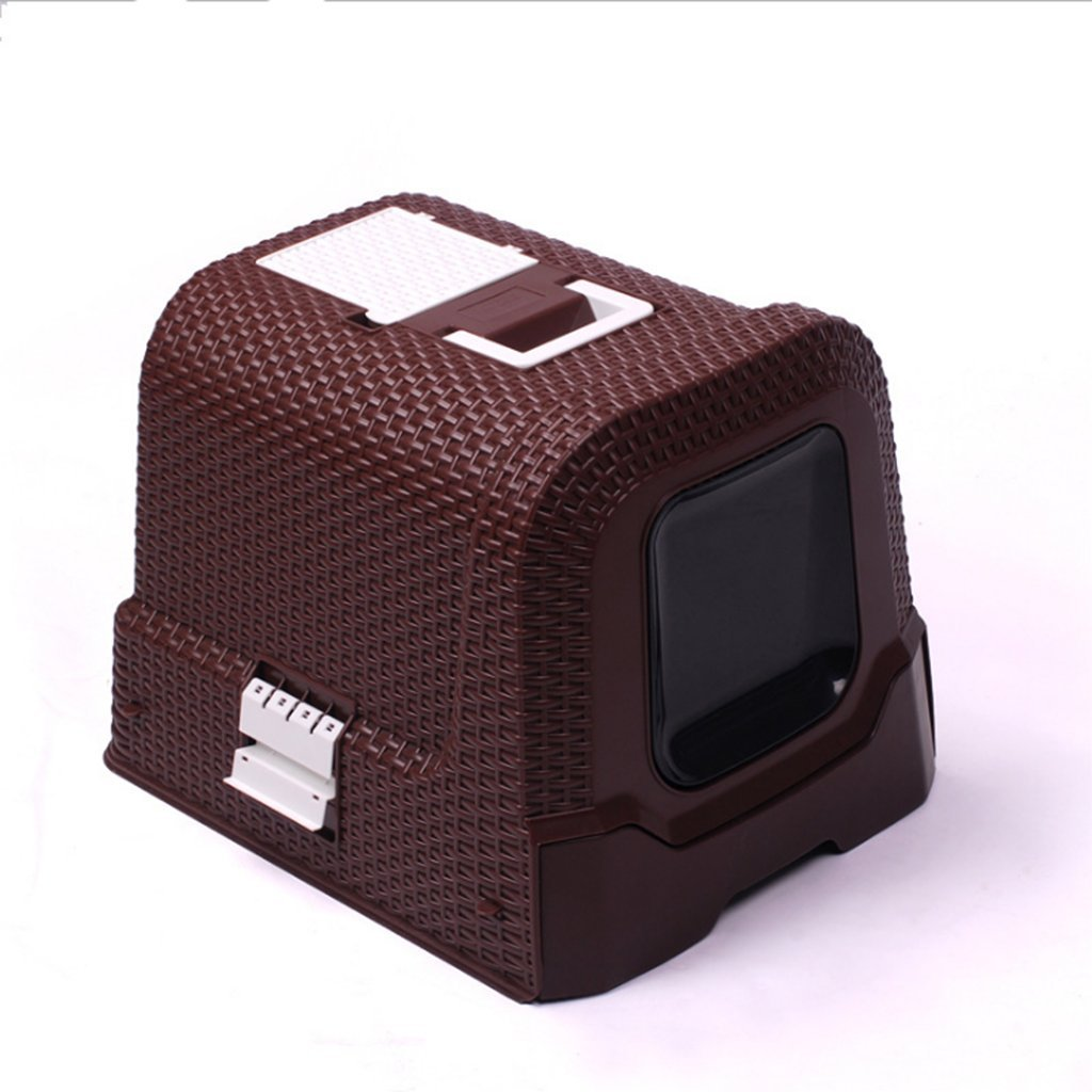 Brown TOOLTOQ Modern European Minimalist Rattan Style Fully Enclosed Splash-Proof And Deodorant Cat Toilet Litter Box Cat Potty Cat Toilet,Brown