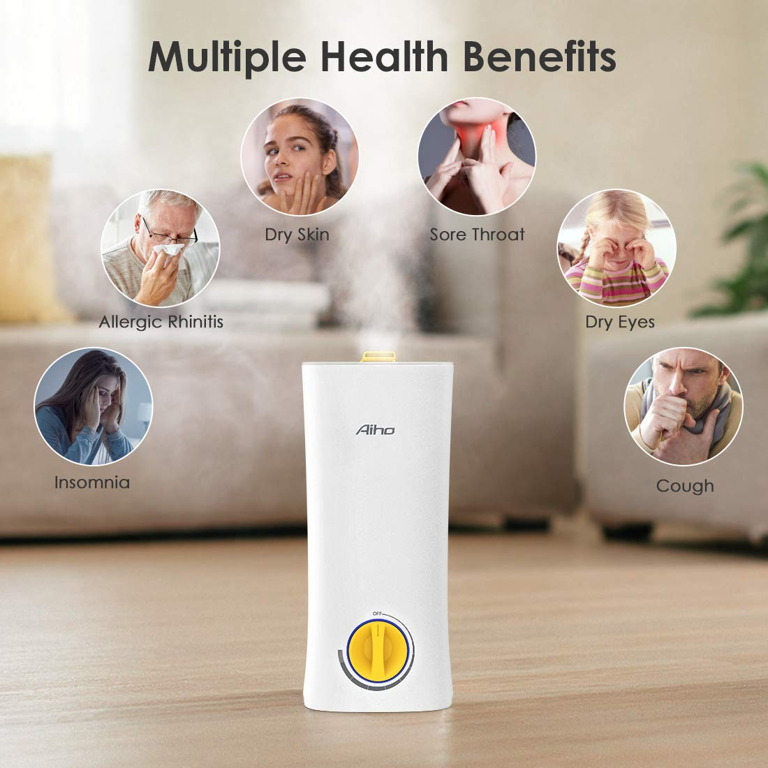 Aiho Ultrasonic Cool Mist Humidifier Large Capacity 2.5L 2 in 1 Humidifiers and Essential Oil Aromatherapy Whisper-Quiet Operation Automatic Shut-Off for Bedroom Babyroom Livingroom Office