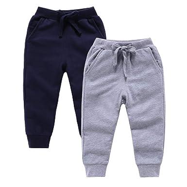 24e20033d6 ALALIMINI Toddler Boys' Cotton Pants 2-Pack Soft Athletic Knit Pants 2T 3T  4T