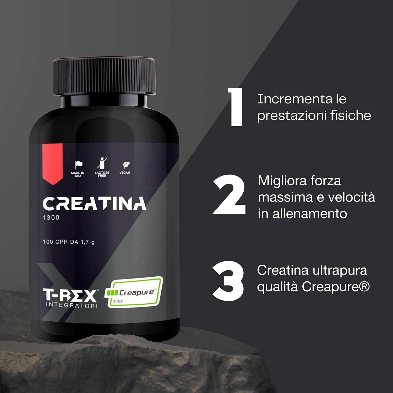 T-Rex Integratori, CREATINE 1300mg Monohidrato Micronizada. 100 Tabletas. Suplemento Deportivos de Creatina para Musculacion