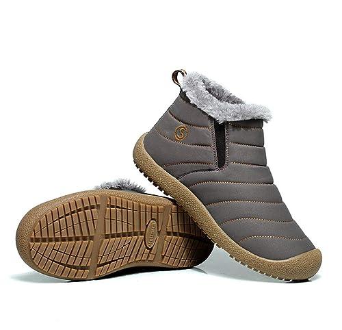 34b12eaedd29e4 ZIITOP Hommes Femmes Chaussures De Neige Bottes Hiver Bottines Fourrées  Chaudes Boots Baskets Lacets Plates d intérieur et d extérieur Chaussures  Bottes  ...