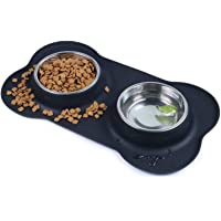 Dog Bowls Double Stainless Steel Pet Bowls for Food and Water with A No-Spill Silicone Mat Foldable and Compact Double…