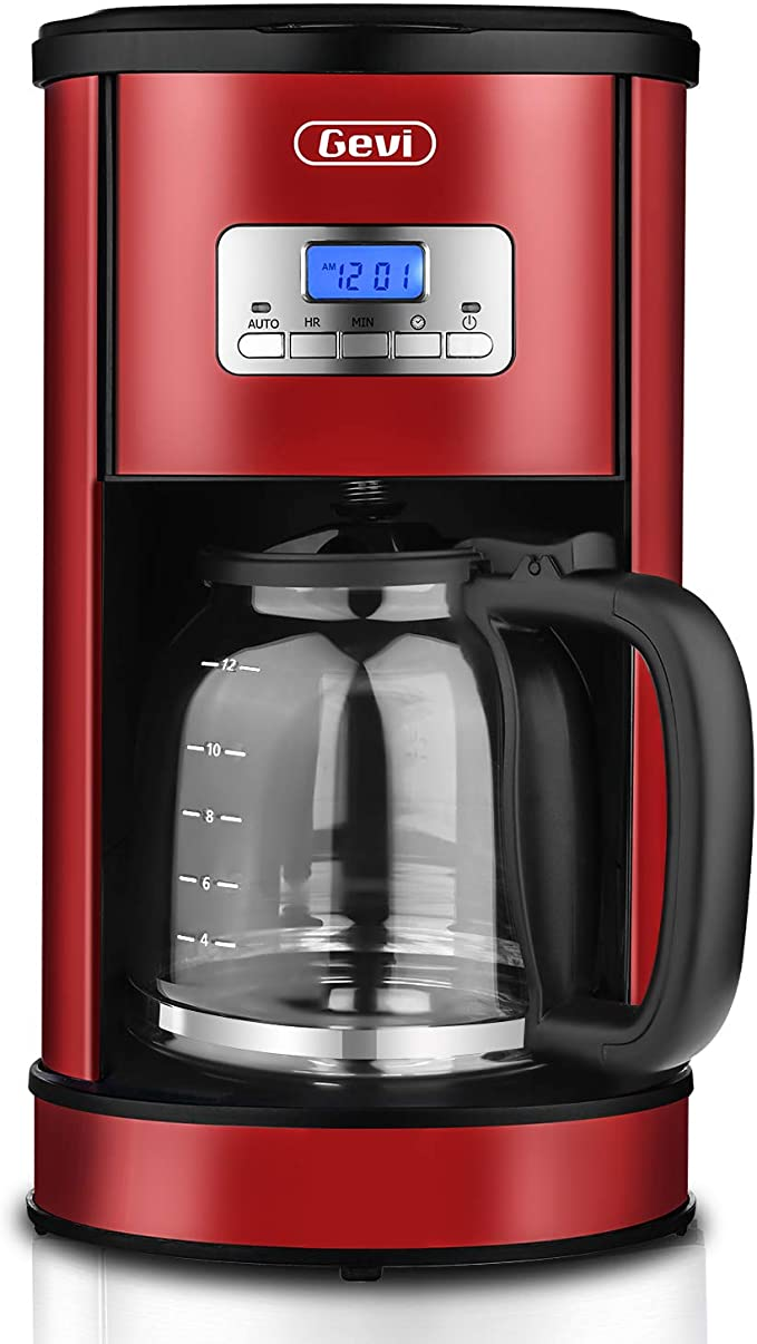 Coffee Maker GEVI 12 Cup Coffee Machine Stainless Programmable Setting Silent Operation Drip Coffeemaker with Coffee Pot and Filter for Home and ...