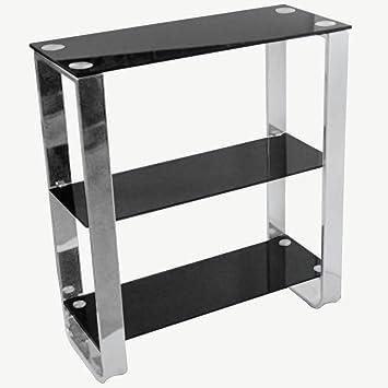 Black Glass Bookcase Metal Frame 3 Shelves Modern Design