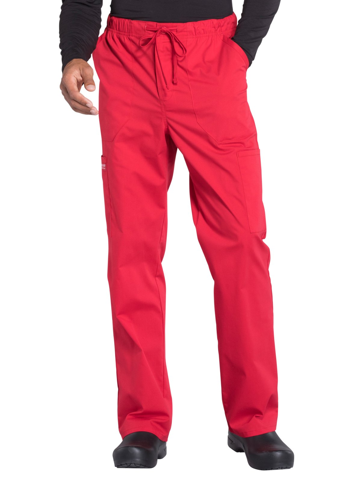 Cherokee Professionals Workwear Men's Tapered Leg Zip Fly Drawstring Scrub Pant Small Tall Red